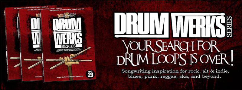 Drum loops for all styles of rock, alt rock, blues, and more: The Drum Werks Series of Drum Loops and Samples