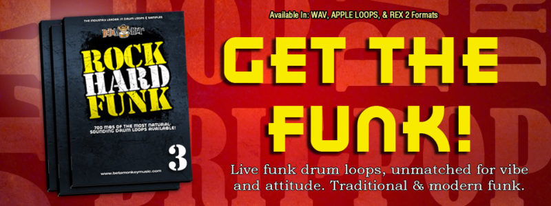 Funk drum loops - Multiple classic and modern funk styles in the Rock Hard Funk Loops and Samples Series