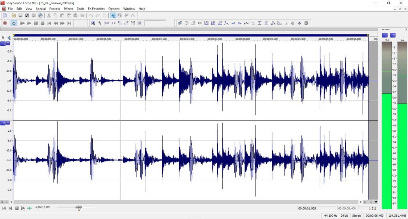 Audio waveforms of drums